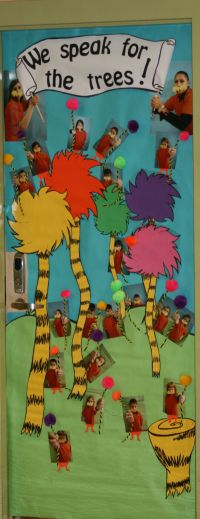 Lorax themed door decor for Reading Month, Dr. Seuss, or ...