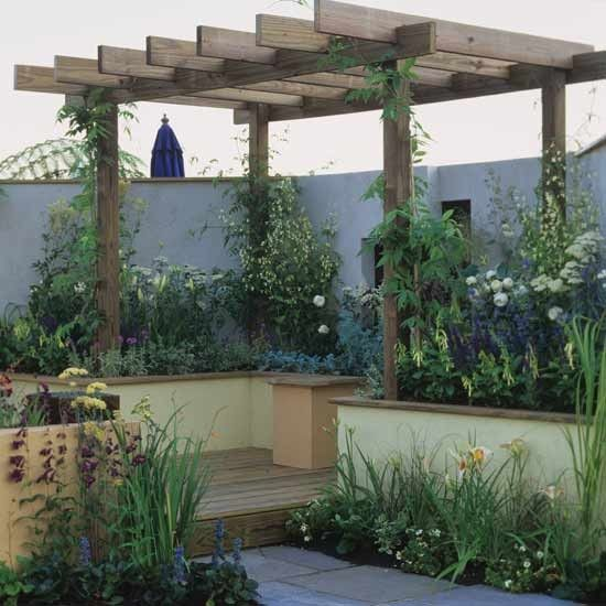 Small Garden With Wooden Pergola Garden Ideas Backyard Ideas