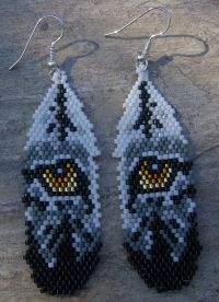 Wolf Eyes In Feather Earrings Hand Made Seed Beaded by ...