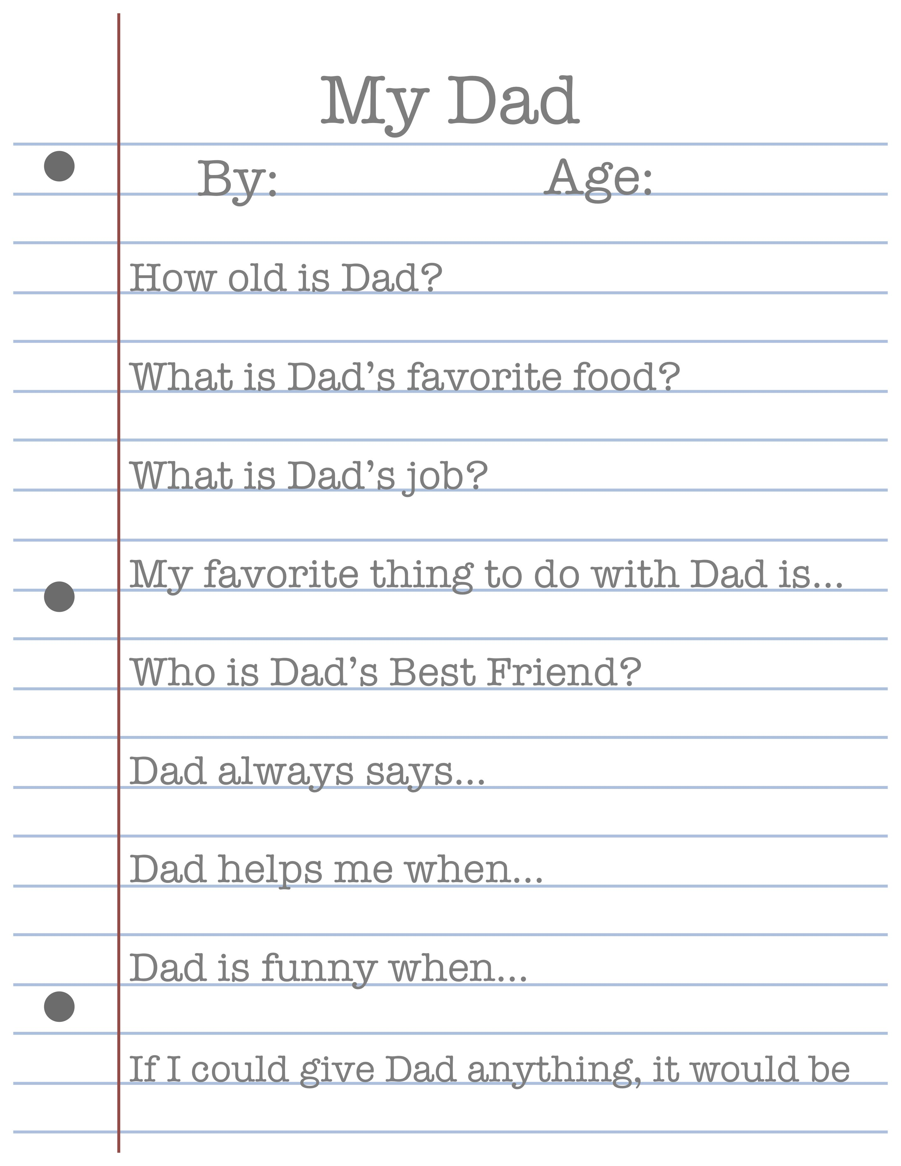 Free Father S Day Printable Great Sentimental Idea For