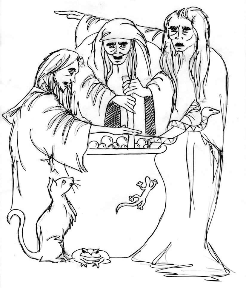 Macbeth Witches Drawing Sketch Coloring Page
