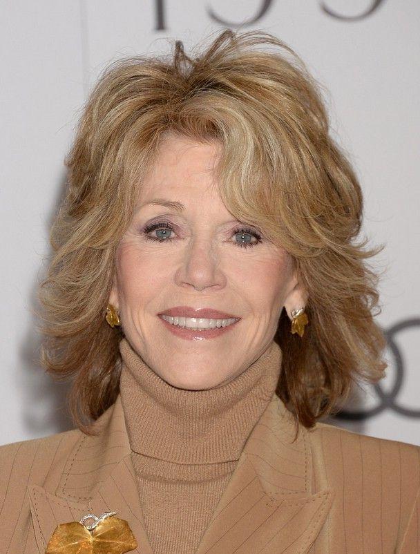 Jane Fonda Layered Shoulder Length Haircut For Women Over 60