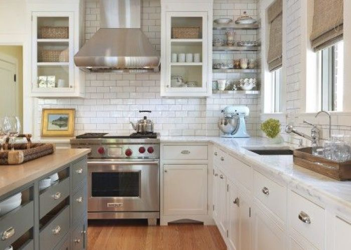 Blue gray kitchen island storage butcher block countertops white glass front cabinets marble subway tiles backsplash stainless steel also counter tops