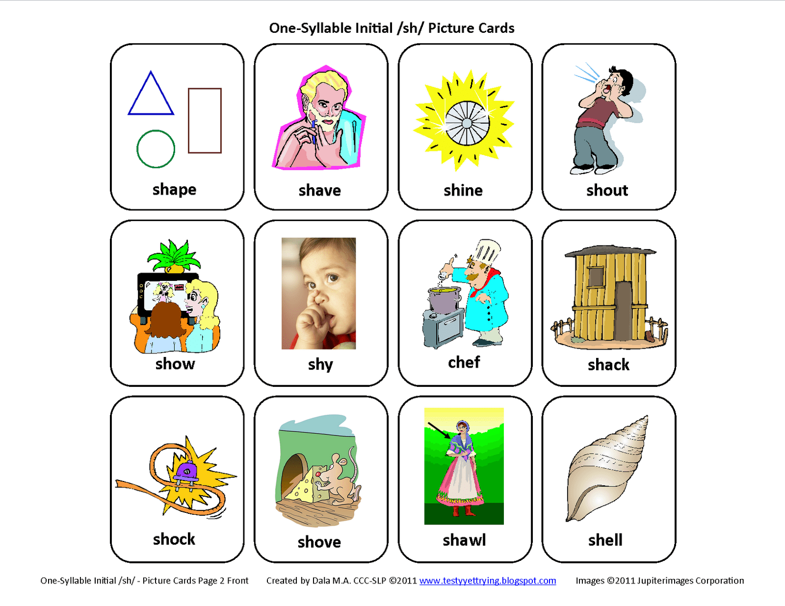 Testy Yet Trying Initial Sh Free Speech Therapy Articulation Picture Cards