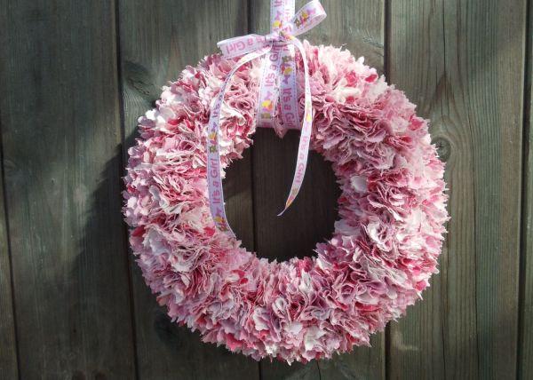 Baby Girl Pink Rag Wreath Fabric Door Hanger