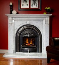 Windsor gas fireplace with Cheladon marble mantel ...