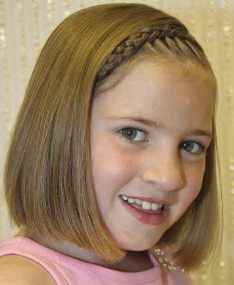 Straight Blunt Haircut With Braid Short Hairstyles For Little