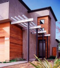 Designing Contemporary Entry Using Red Canopy, glass Door ...