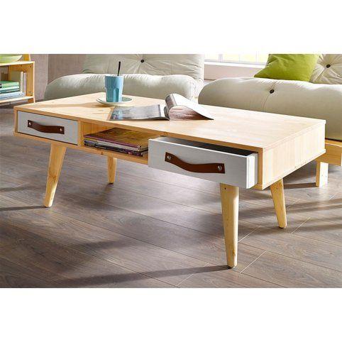 Table Basse Design Scandinave Tiroirs En Pin Massif Karup Bois Naturel Gris