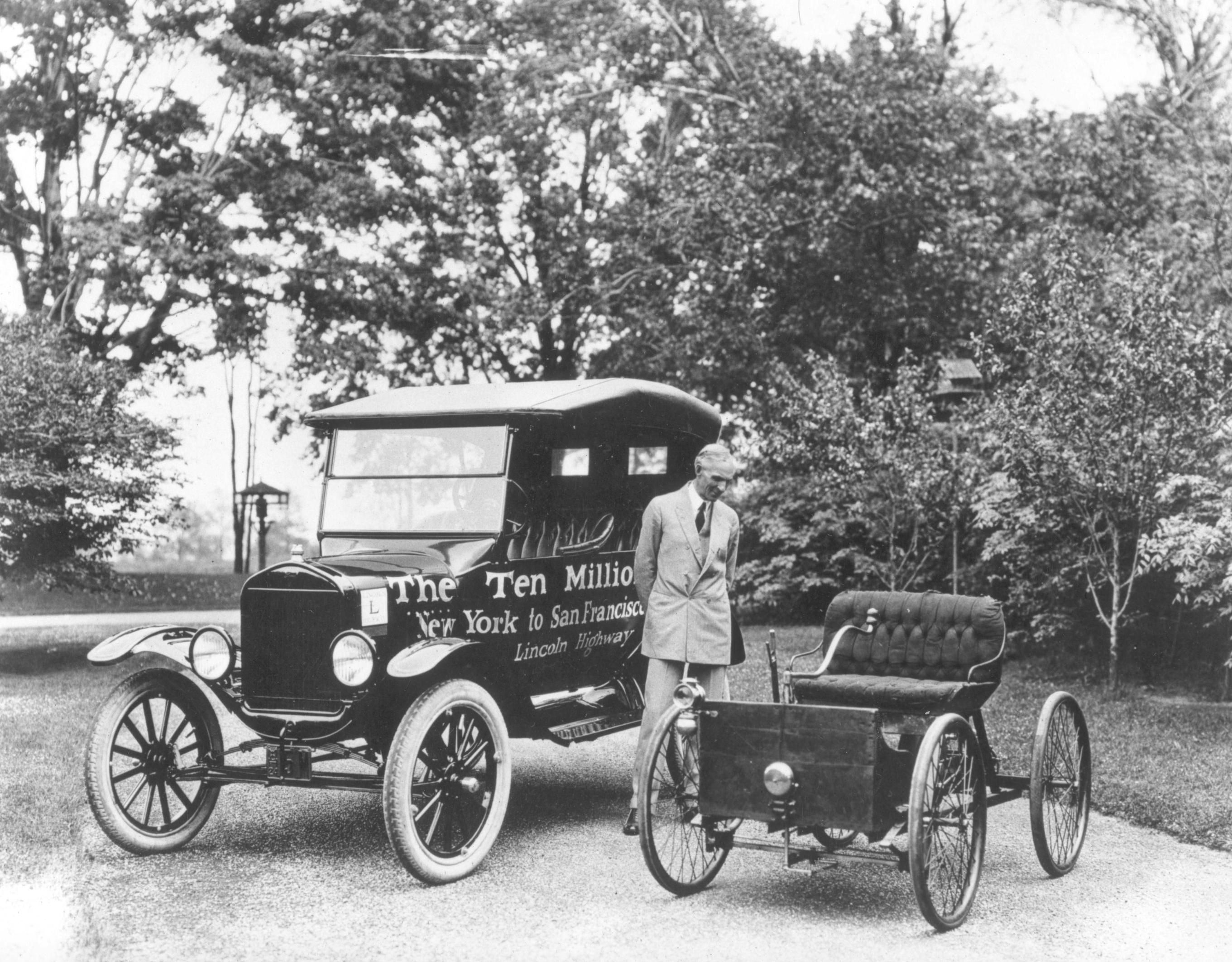 Henry Ford Standing Next To The First And The Ten
