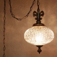 Vintage hanging light - hanging lamp - glass globe - chain ...