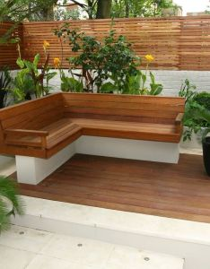 Beautiful sunny small garden design ideas in two main pots with perfect brown seat also gardening pinterest gardens decks and decking rh uk