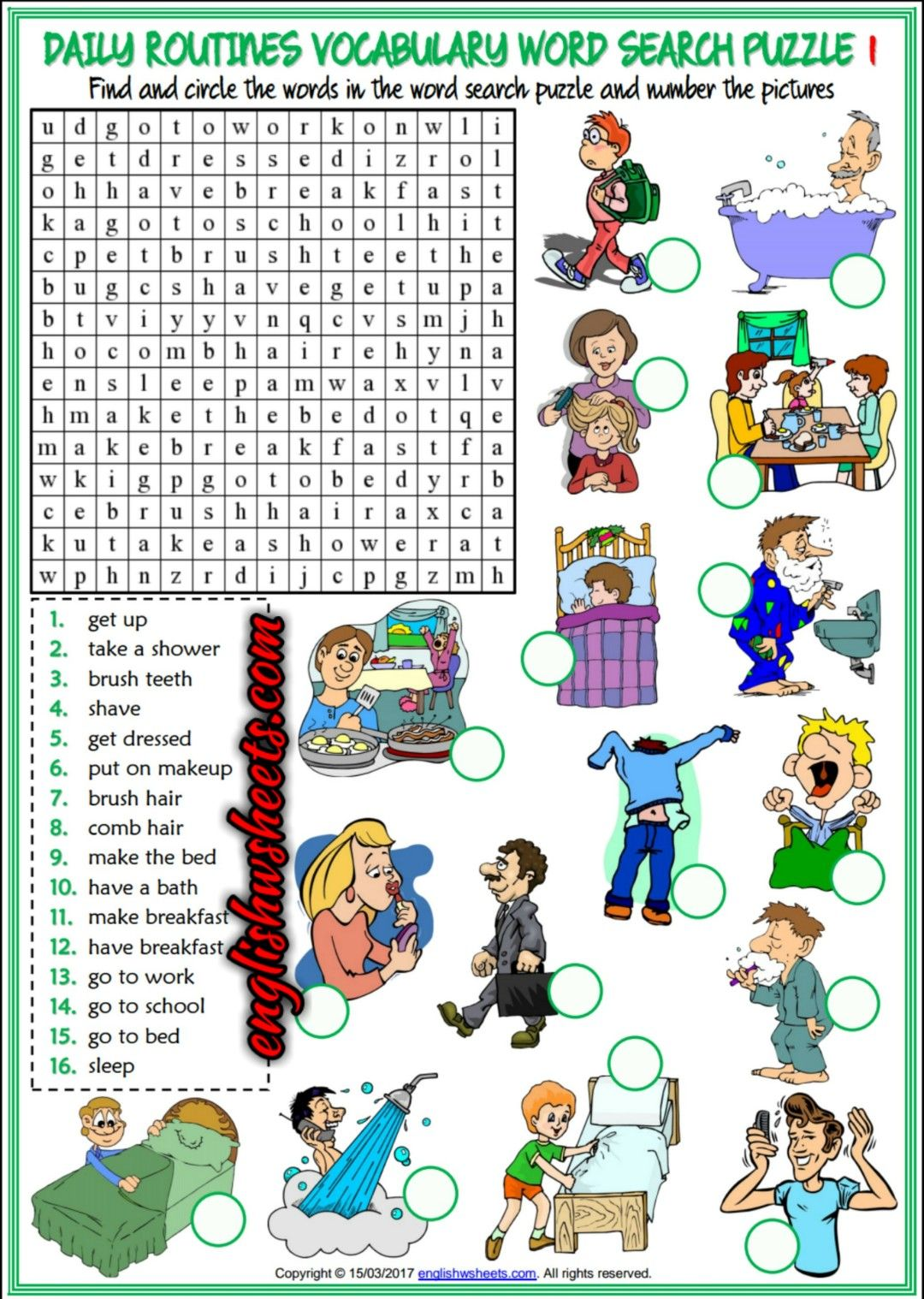 Daily Routines Esl Printable Word Search Puzzle Worksheets