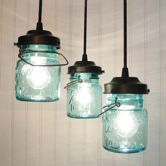 2016 New Year Vintage Blue Mason Jar Chandelier Lighting Ideas With Lamp Bulbs