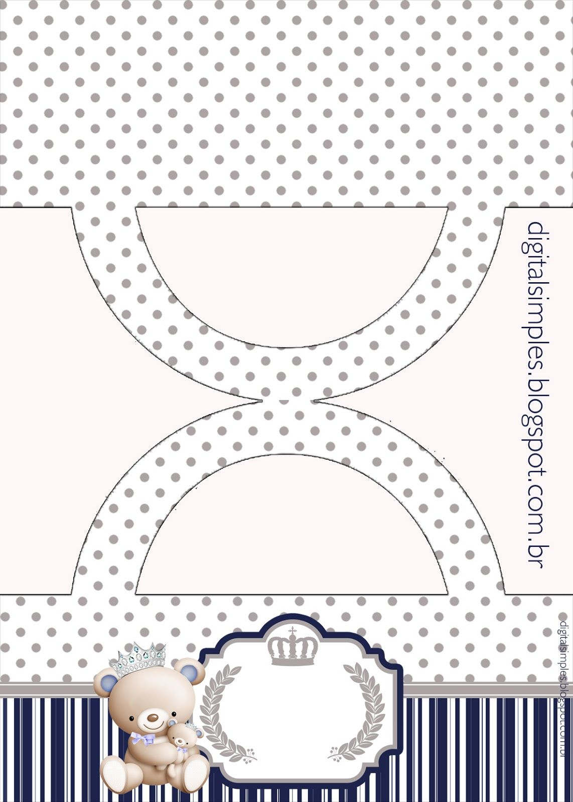 Convites Digitais Simples Kit Aniversario Ursinho Principe Azul Para Imprimir
