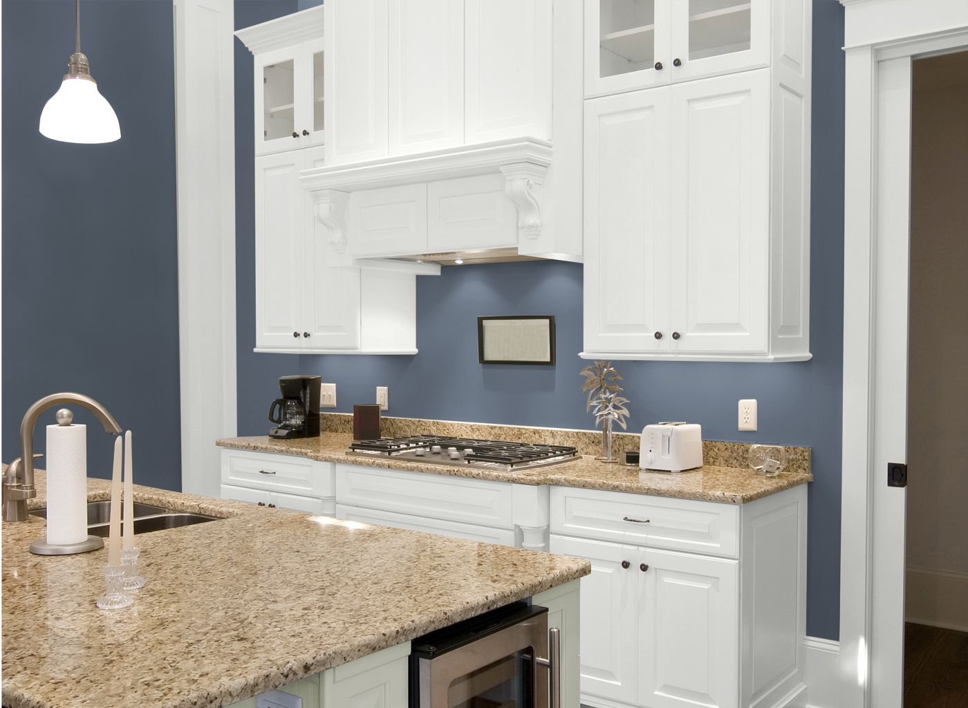 Kitchen in BlueGrey Slate I LOVE the color  Our