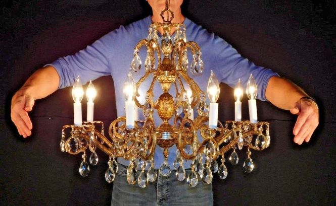 Massive Antique French Bronze Dore Finish Lead Cut Crystal Pinele Chandelier