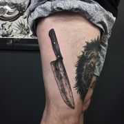 black white grey butcher knife