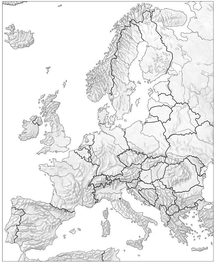 Mapa Fisico Europa Mudo Blanco Y Negro