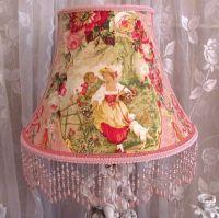 """12"""" FLOOR LAMP SHADE shabby PNK Rose FRAGONARD TOILE ..."""