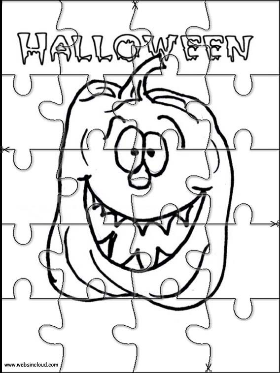 Printable jigsaw puzzles to cut out for kids Halloween 20