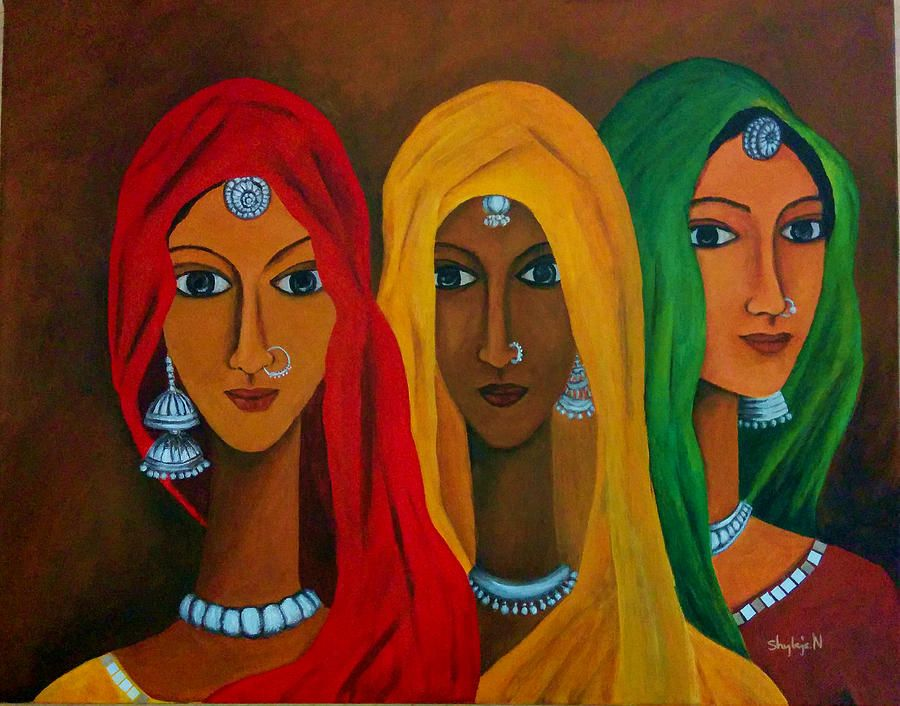 Alwar Girl Wallpaper Painting Of Indian Woman In Ghunghat Google Search
