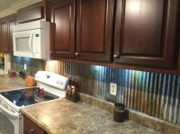 Rustic backsplash from reclaimed tin roofing | My Work ...