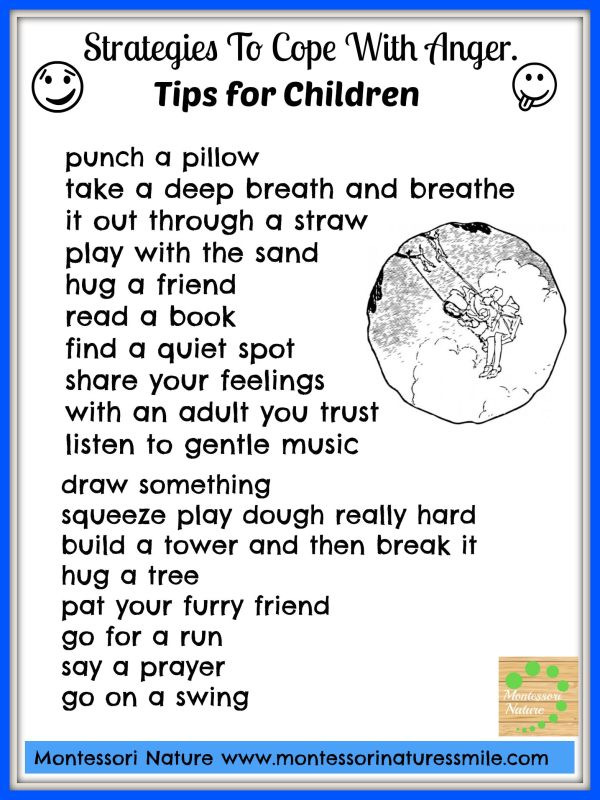 Strategies Cope With Anger. Tips Children