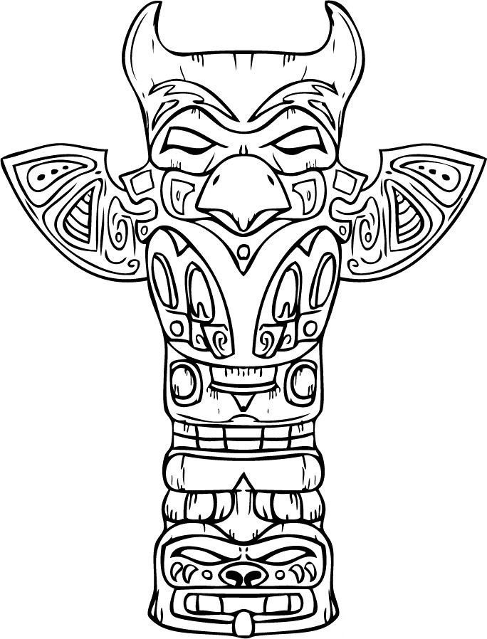 totem pole coloring page  3rd grade d8 native american