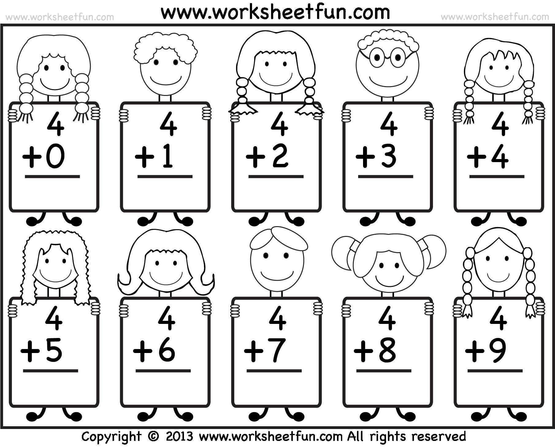 Free Printable Math Worksheets For Kindergarten Addition 1
