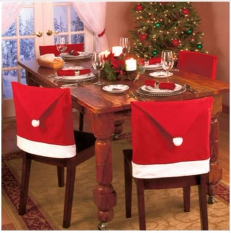 christmas chair covers pinterest maker jim steel tischstuhl abdeckung weihnachtsmann hut 4 stuck 50 60cm supermarkt cheap decorative throw pillow buy quality cover network directly from china vacuum suppliers new year style dining room