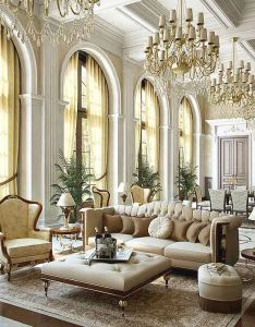 Majestic luxurious interior ideas for your modern home beautiful living room design with luxury classic chandelier brown sofas and also what   fashionable in today luxe rh pinterest
