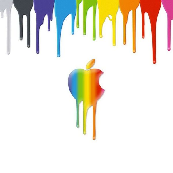 Apple Logo Dripping Paint Ipad Wallpaper Hd & Iphone Match Set