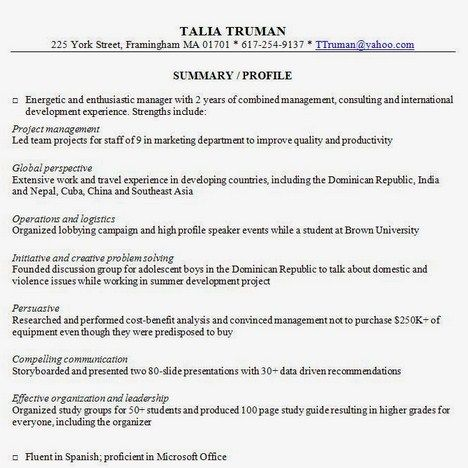 Resume Summary Examples Getresumetemplate Info 3763