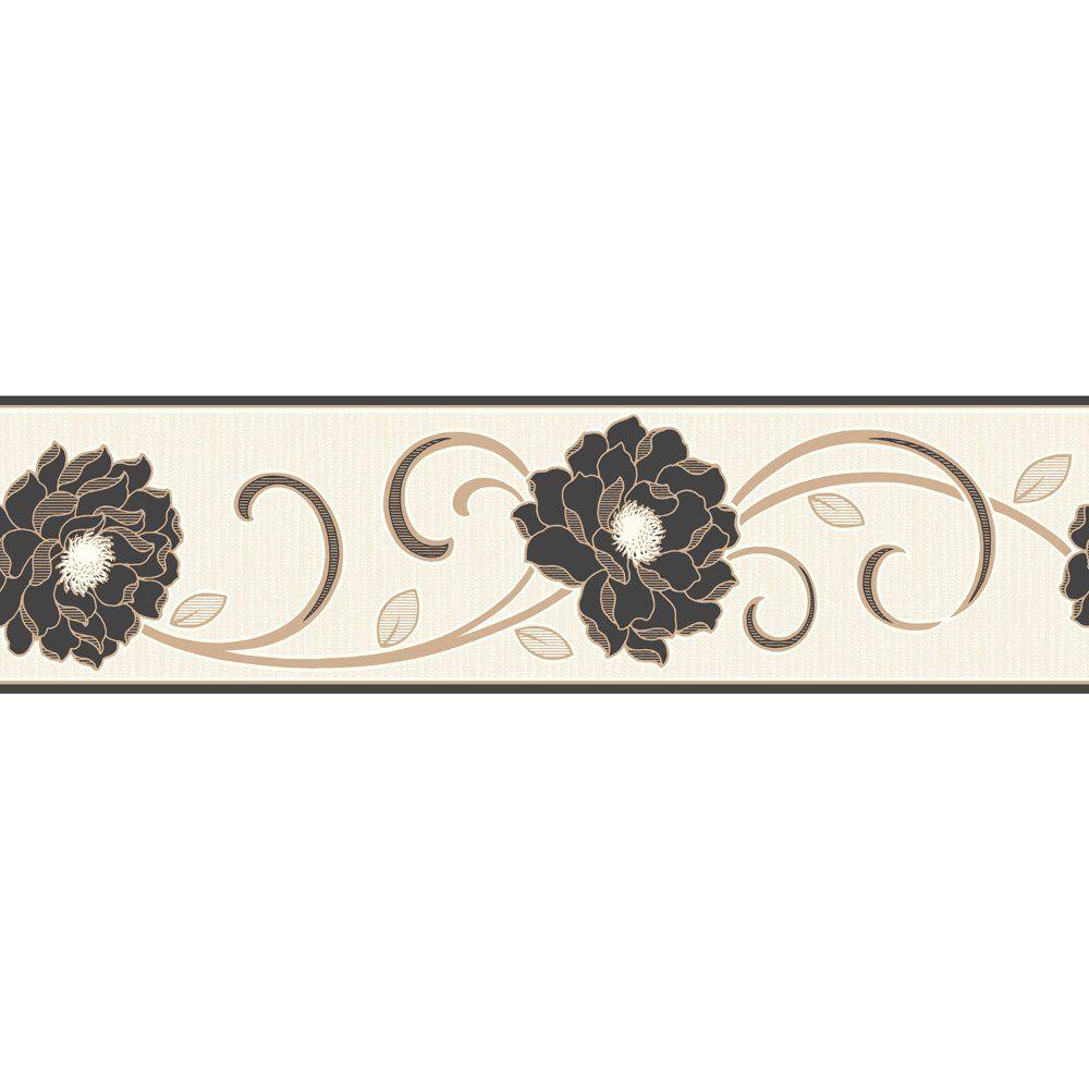 Fine Decor Florentina Wallpaper Border Cream  Black