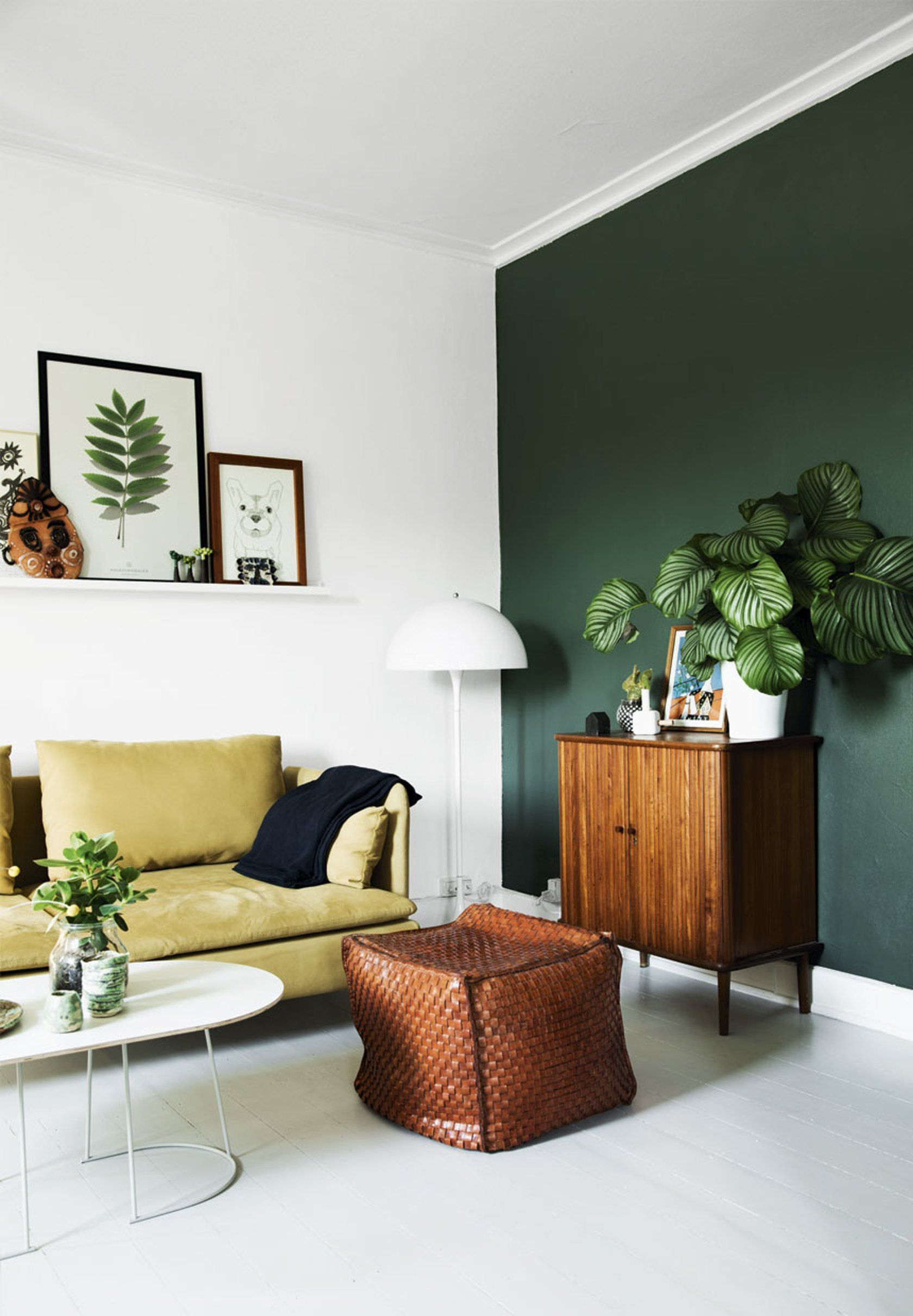 Home decorating diy projects green wall danish modern retro houseplants wire planter mustard yellow also hvid verner panton lampe living room pinterest rooms rh
