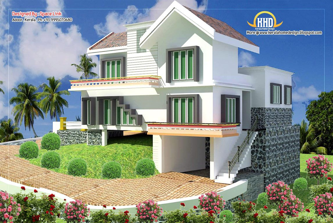 Double Storey Home Designs Sq Sq Ft February Kerala Style Single