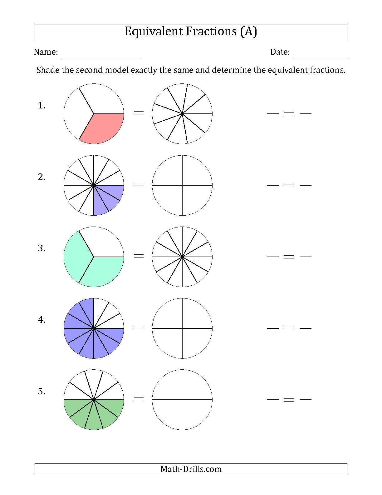 Worksheet Equivalent Fractions Worksheets 3rd Grade