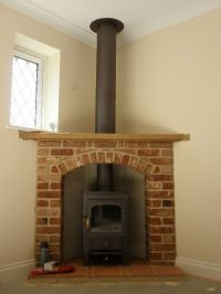 Clearview Pioneer 400 wood burning stove with brick and ...