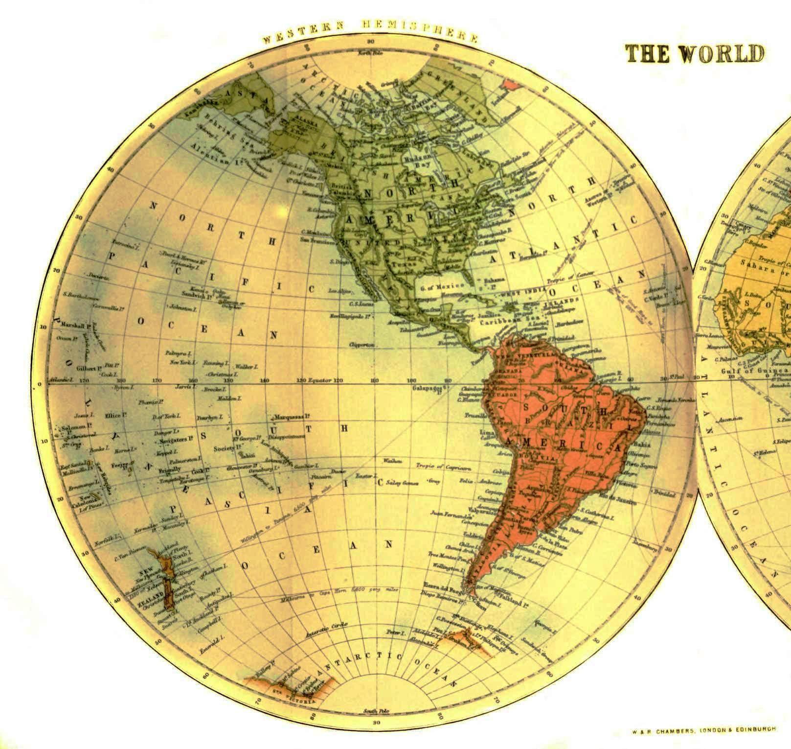 Geopolitical Map World Half Western Hemisphere