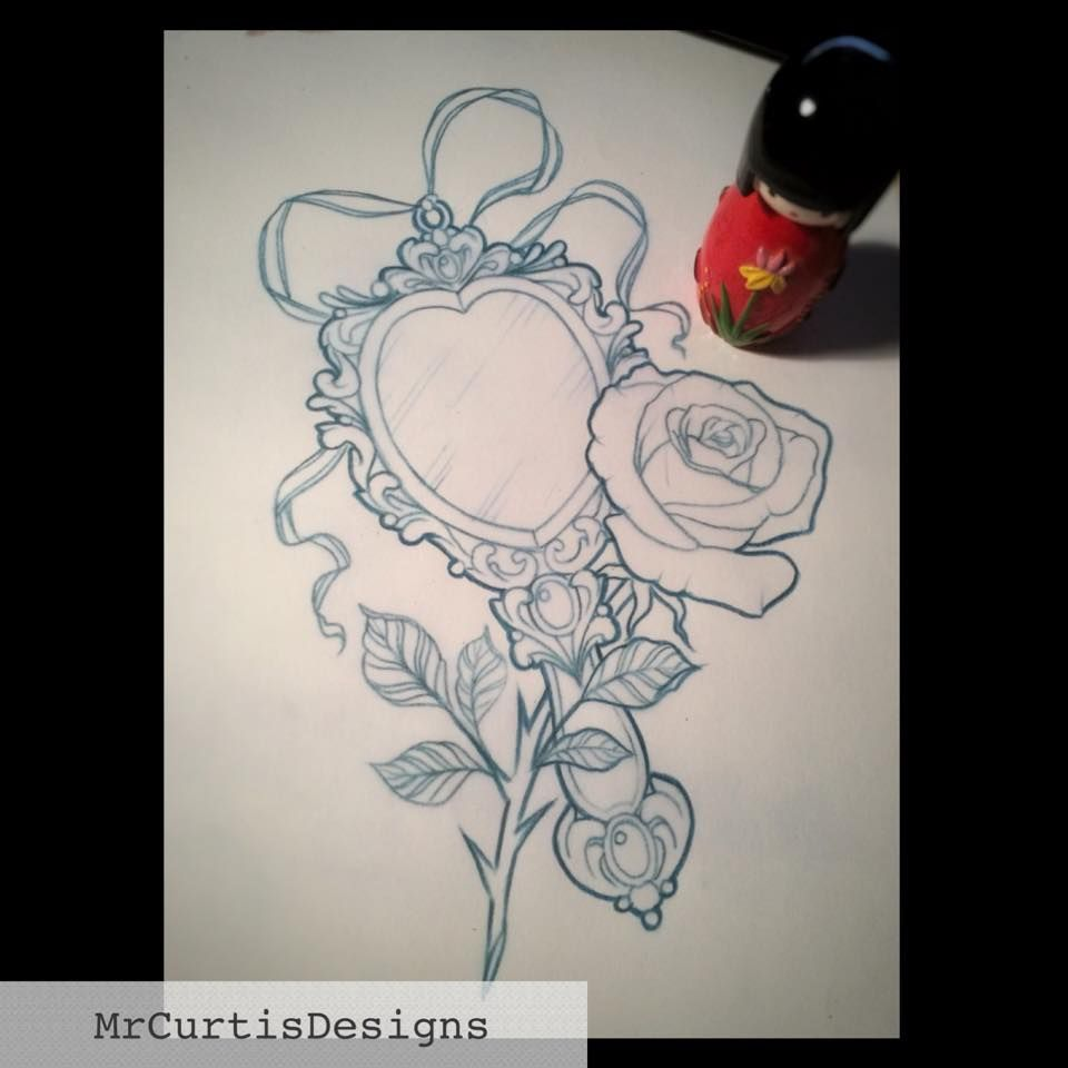 Rose and mirror tattoo design Beauty and the Beast tattoo