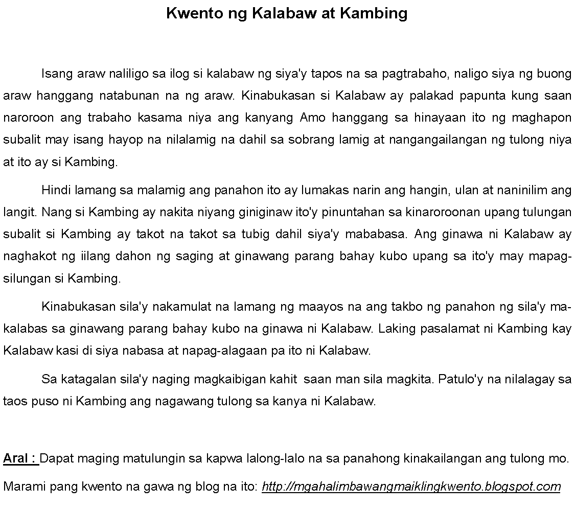 Halimbawa Ng Maikling Kwento Sa Hayop