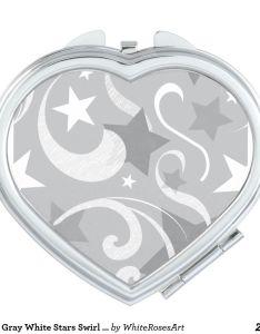 Elegant gray white stars swirl grey winter xmas mirror for makeup also rh pinterest