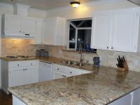 backsplash for black granite countertops | Beige Mexican ...