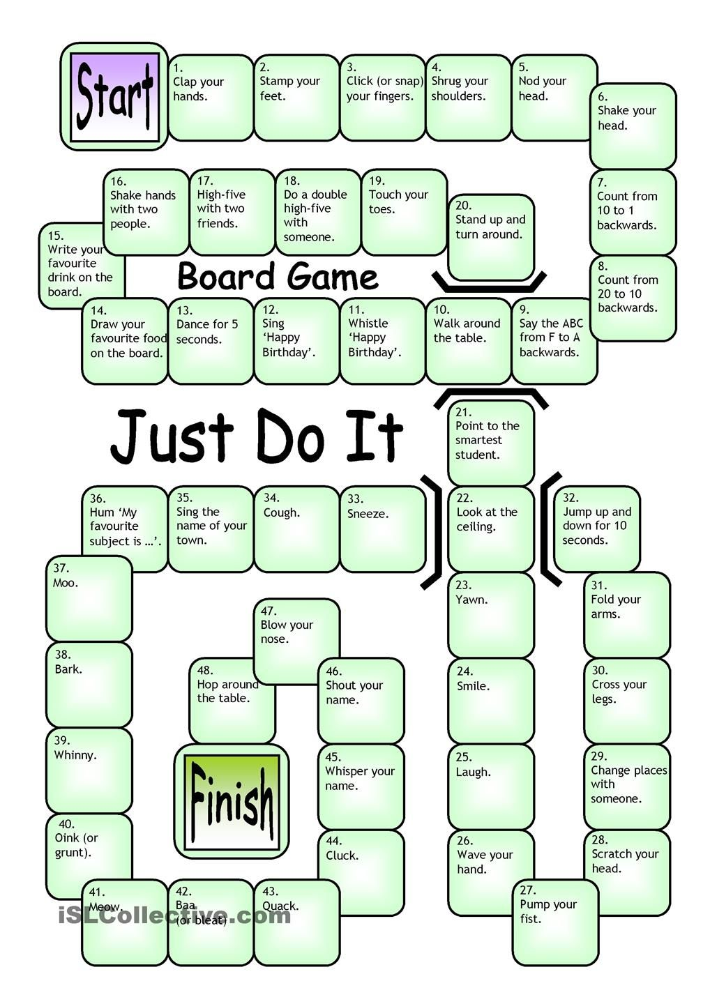 Gaming also board game just do it worksheet islcollective games rh pinterest