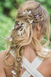 messy boho long bridal hairstyle