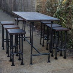 Industrial Bistro Chairs Brown Leather Chair Ebay High Gas Pipe Bar Table This Impressive Style