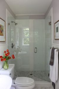 Walk in shower, with window, White tiles, | Bathroom Walk ...
