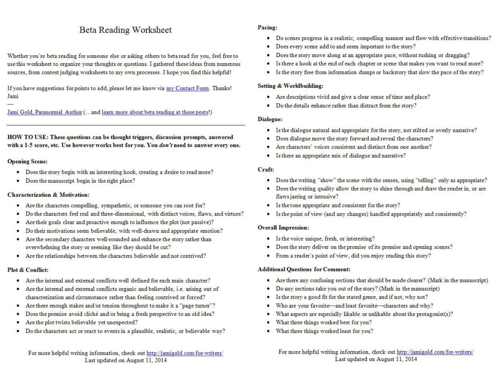 Introducing The Beta Reading Worksheet