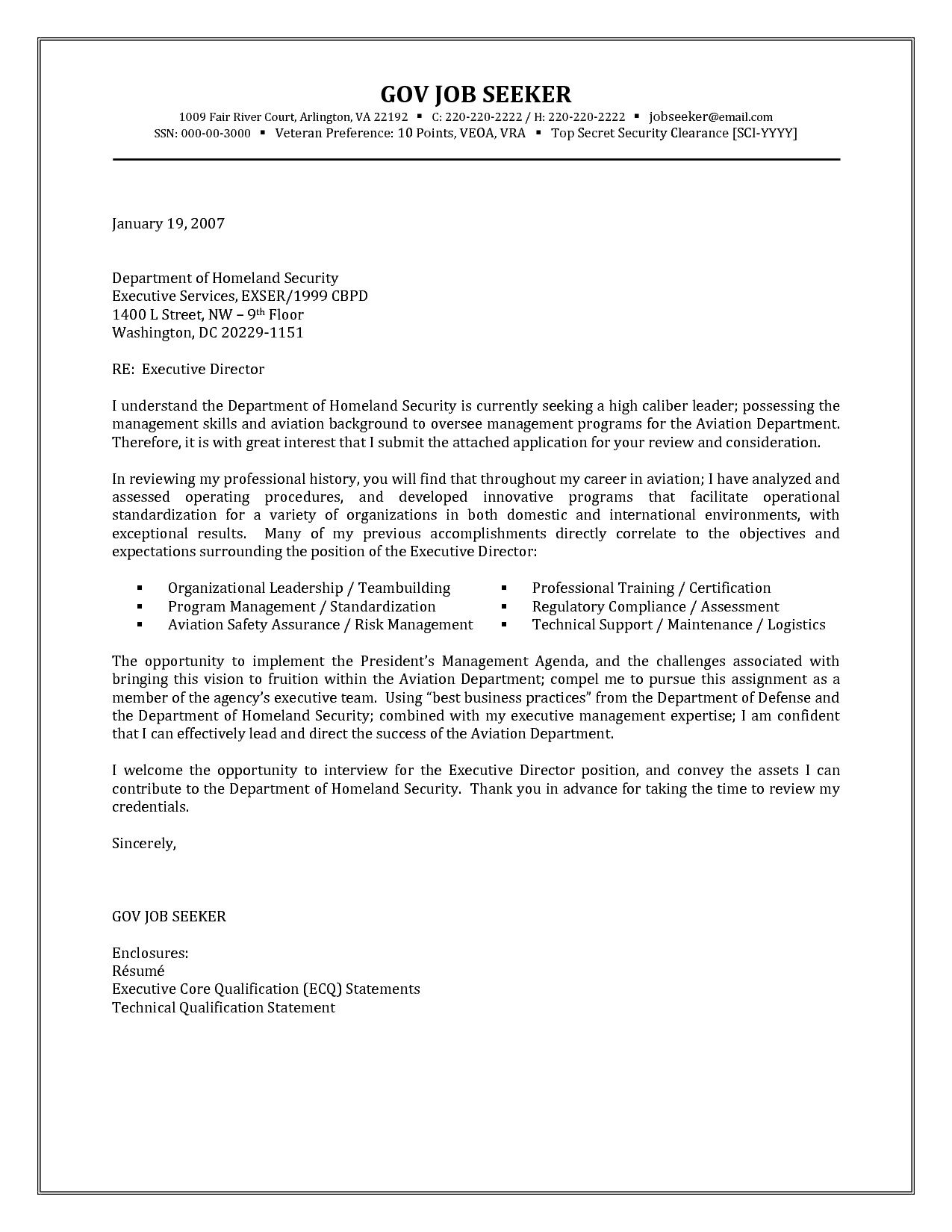 Government Resume Cover Letter Examples Jobresumesample